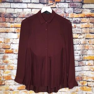 The Kooples Pleated Button Up Blouse